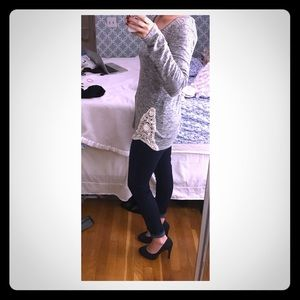 Comfy grey sweater white lace accent